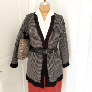 Merona Black & White Print Long Cardigan Large